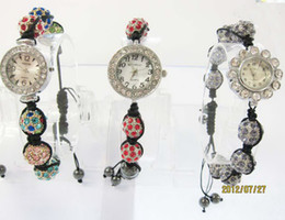 Wholesale unisex fashion jewelry women alloy disco rhinestone Ball beaded strands men Bracelet watch children