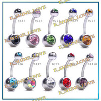 Wholesale Body Jewelry g Double Gem Belly Ring Press Fit Navel Button Ring Body Piercing Jewelry BJJmix1