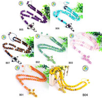 Wholesale gemstone Disco Rhinestone beads cross dangle rosary men necklace hiphop styles multicolour