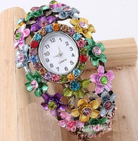 Wholesale Stylish Two Colors Flower Rhinestone Open Bracelet Watch Bracelets Bangle
