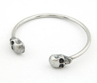 Wholesale New Rock Punk Vintage Silver Tone Couple Double Skull Bangle Skeleton Bracelet