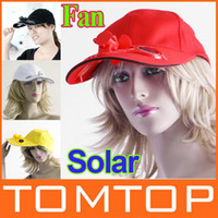 Wholesale 4 Colors Solar Powered Hat Cap with Cooling Fan for Outdoor traveling Golf Baseball H8557B pc
