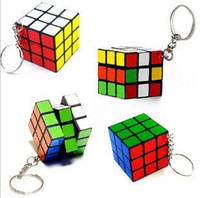 Wholesale EMS free Keychain Rubik s cube x3x3cm Puzzle Magic Game Toy Key Keychain WJ01