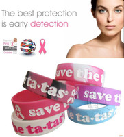 Celtic bangles the band - 50pcs Save the Tatas Pink Ribbon Silicone Wristbands Wide Band Public Campaign Women Men Bracelets