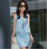 Wholesale sexy fashion New women s dresses Ladies Stylish chiffon Crewneck Sleeveless Chic Tunic Causal Dress