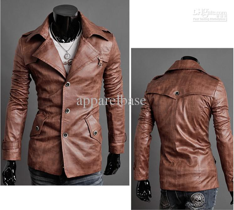Mens Pu Leather Jacket/ Men's Slim Fit Leather Suit/Men's Suit ...