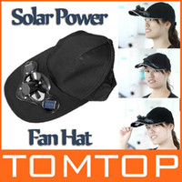 Wholesale Black Solar Power Hat Cap with Cooling Fan for Outdoor traveling Camping Golf Baseball H8557B