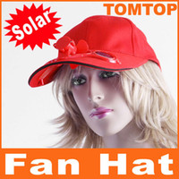 Wholesale Red Solar Powered Hat with Cooling Fan Cooler Cap for Outdoor hiking Golf Baseball H8557R