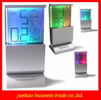 Wholesale Beautiful LCD Digital Display Desk Calendar Alarm Clock Creative Colorful Changable Calendar Clock