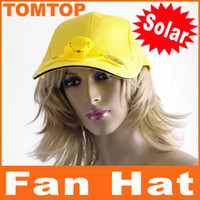 Wholesale Yellow Solar Powered Cool Hat Cap with Cooling Fan for Outdoor camping Golf Baseball H8557Y