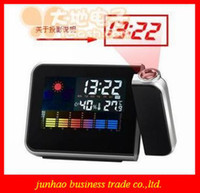 Digital Alarm Clocks  Black LED Weather Multi-Function Station Projection Alarm Clock New Fashionable Gift Free Shipping