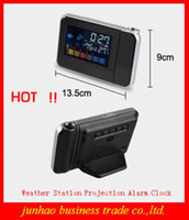 Digital Alarm Clocks  Creative Table Clock Hot LED Multi-Function Digital Projection Alarm Clock With Weather Station