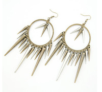Wholesale huge ring earring with rivet charm very hot sale big ring earring