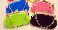 Blue silicone handbags - Fashion mini pouch silicone handbag with chains ladies silicone purse zero wallet