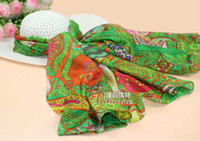 Silk Scarf Bohemian Green Voile Personality Fashion New Styl...