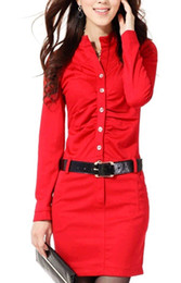 Wholesale 2012 dress Women dresses women s fashion Dress with belt women s clothing long sleeve dress