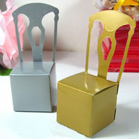 Wholesale Gold Chair Wedding Candy Boxes Favors Party Birthday Shower Sweet Packing with Ribbon and Pendant