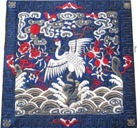 Wholesale Art Placemats Chinese Satin Fabric Square Embroidered Crane Patterns pack mix Free