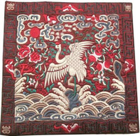 Wholesale Wedding Placemats Crafts Chinese Satin Square Embroidered Crane Patterns pack mix Free