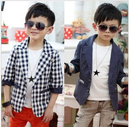 Wholesale Fashion Boys Children s Formal Suits Wedding Prom Suit Spring Autumn Wave Point And Grid Tuxedo