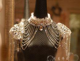 Wholesale Luxury Crystal Shoulder Knot Bridal Epaulet Wedding Accessories Wedding Dress Pendant GG1257
