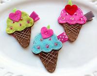 animal ice cream - 2 quot ice cream Girls cartoon Hair Clips baby Hair Bows handmade Simple wool felt clips A336