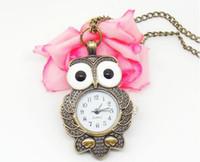Wholesale 2013 New Arrival Bronze Owl Watch Necklace Fashional Pocket Quartz Lovely Watch