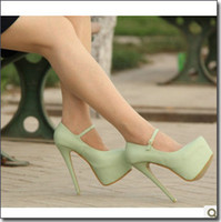Wholesale 2012 Plus Size Super High Wedding Shoes Womens CM High Party Shoes With Ankle Strap US5 TS2