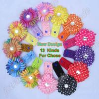 Crochet crochet headbands - 12pcs rainbow Gerbera Daisy Flower clip pc Crochet headbands baby flower headband hair clips