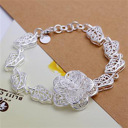Wholesale hot sell Silver fashion hollow retro flower bracelet jewelry factory price