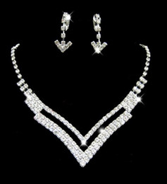 Wholesale SE2 V type Necklace Earring Set Bridal Wedding Party Rhinestone Bridal Jewelry Sets
