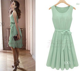 Wholesale 2012 NEW Skirts Pleated Sleeveless Slim Chiffon Dress Women