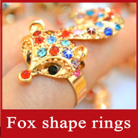 Wholesale 12PCS nail ring charm diamond ring finger fox shape personality snakelike rings jewelry k21