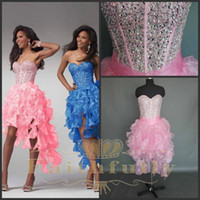 Wholesale Actual Image Sweetheart High Low Prom Dresses Organza Pink Party Dresses Hi Lo Evening Dress