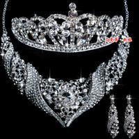 Wholesale Wedding Jewelry Set Crystal Necklaces Earrings Tiaras Set MM001 Crown Bridal Jewelry Accessories
