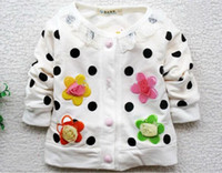 Wholesale Autumn cotton Sweet flower kids long sleeved coat girls coat children s clothes baby cardigan white