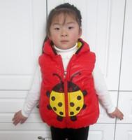 Girl beetle hood - 1 New six color Beetle Ladybug vest laminated cotton children s clothing cotton vest L XL XXL