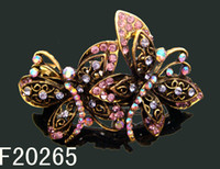 Wholesale Women zinc alloy rhinestone Hair Clips Barrettes vintage Hair Accessories mixed color F20265