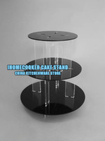 Wholesale 3 tiers layers round black cupcake wedding party cake stand CLASSIC BRACKET ACRYLIC cake stand