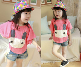 Wholesale Summer children s clothing embroidery bunny bat shirt short sleeved Kids t shirt