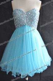 Wholesale 2013 In Stock Blue Sweetheart Sequins Beaded Tulle Mini Short Prom Homecoming Dresses Under