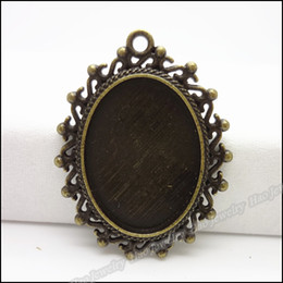 Antique bronze oval photo frame pendant zinc alloy jewelry accessories fashion Craft Findings 70pcs
