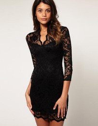 Wholesale Popular Lace V neck Slim Sleeve net Yarn Dress