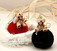 Wholesale Fashion accessories Cute Crown Key Holder Plush Fabric Bear Pompon Ball Pendant For Women s Bag