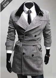 Wholesale 2012 Fashion Men Fur collar Double breasted Coat Woolen Windbreaker Men Top grade Apparel