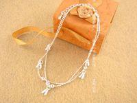 Anklet Korean version fashion silvery double beaded type ele...
