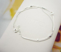 Anklet Korea edition personality contracted double silvery 2...