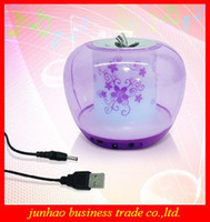 Wholesale Lovely Transparent Crystal Colorful Apple Mini Speakers For MP3 MP4 Player Mobile phone USB Supply