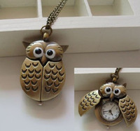 Wholesale Cartoon cyan bronze retro slide up owl pocket watch necklace gift jewelry