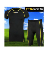 Wholesale 2012 PRO SKINS jersey Stretch tights Marathon running Training outfit Short sleeve Cycling wear set